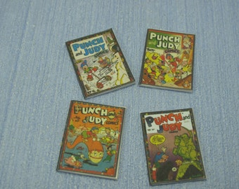 Miniature decorative punch and Judy nursery classic girl child books, vintage books  1:12 Scale Or 1/6 Scale Dollhouse Miniature playscale