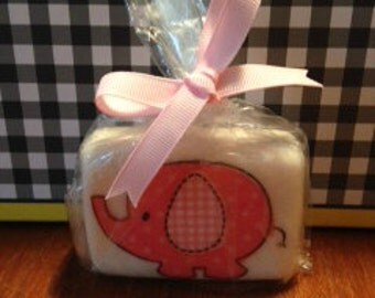 Pink Elephant Soap with Decoupage