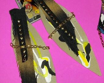 Fabric jean earrings