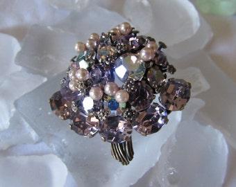 vintage 1960s BROACH AUSTRIAN CRYSTALS Lilac /Pearls/ aurora borealis