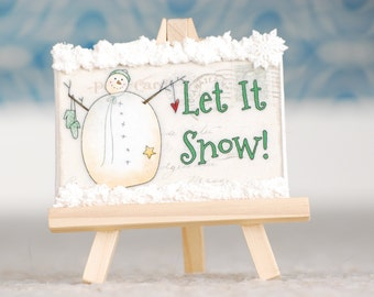Snowman Sign, Whimsical Snowman Sign