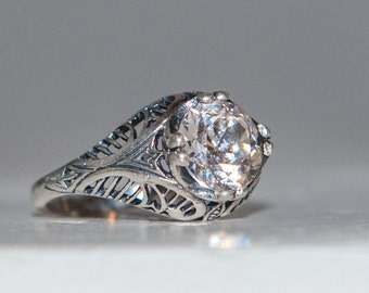 Art Nouveau Engagement Ring - Victorian Engagement Ring - Filigree Engagement Ring