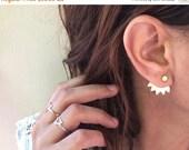 SALE Valentines day ear jacket: gold stud earrings, ear jackets- gold plated ear jackets, pair of gold earjackets
