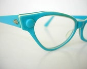 American Optical AO Aqua Multi-Layered Striped Turquoise & Cream Lucite Vintage Cat Eye Eyeglass Frames Retro Mod Groovy Larger Fit 1960s