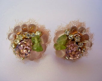 """Dainty Tulle Glass Rhinestone Peachy Pink Peridot Green Prong Set Rhinestones Glass Seed Beads Cluster Post Earrings Vintage Approx. 5/8"""""""