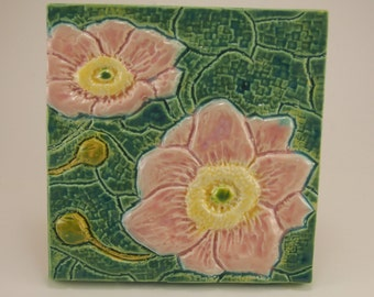 Pink Anemone, Low-Relief Ceramic Art Tile