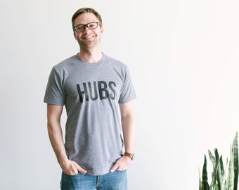 HUBS T-shirt • Husband Shirt • Hand-lettered Typographic Design for Groom or Hubby • Anniversary Shirt Gift • Wifey Hubs •  FREE SHIPPING