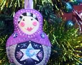 MakeForGood ~ Hand Embroidered Babushka Felt Plushie Ornament
