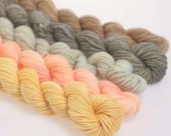 Wool Yarn NEW - Mini Skeins Collection - 'MISTY SUNRISE'