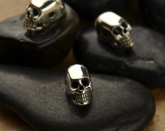 1pc~Mini Sterling Silver Skull Bead