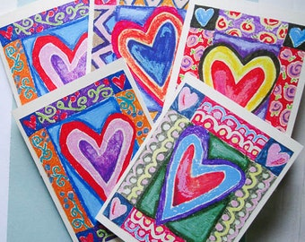 Valentine's Day Cards, Love Note Cards, Heart Art Cards, Valentine's Greetings, Blue And Red, Thinking Of You, by Paula DiLeo_11616