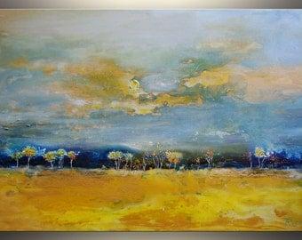 Abstract Landscape Painting, Original Art Oil Painting on Canvas Art Painting, Wall Art, Contemporary Modern Art, Yellow Painting by Tatjana