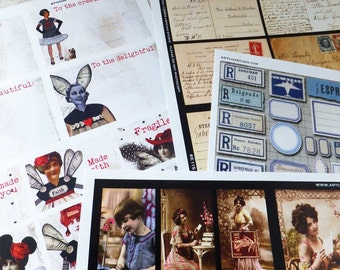 MAIL ART Lovers! 100s of VINTAGE Labels, Images, Stamps, Letters, Ephemera in This Paper Collage Sheet Collection!