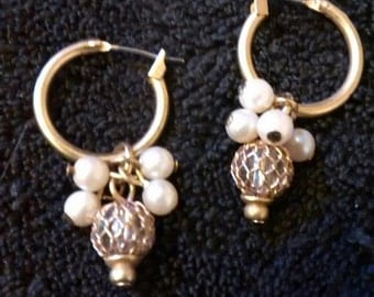 Pearl Cluster Cage Ball Earrings