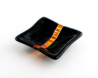 Black Ring Dish, Small Jewelry Dish, Fused Glass Bowl, Tea Bag Rest, Spindle Bowl, Unique Home Accent, Cute Small Gifts for Friends