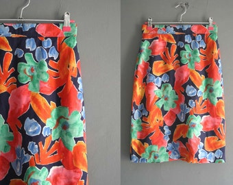 "Bright Floral Print 80s Penci Skirt 26"" Waist"