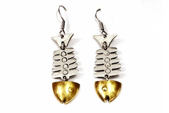 Fish bone earrings fish skeleton dangle earrings 925 for Fish bone earrings