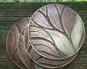 4 Bronze Leaf coasters