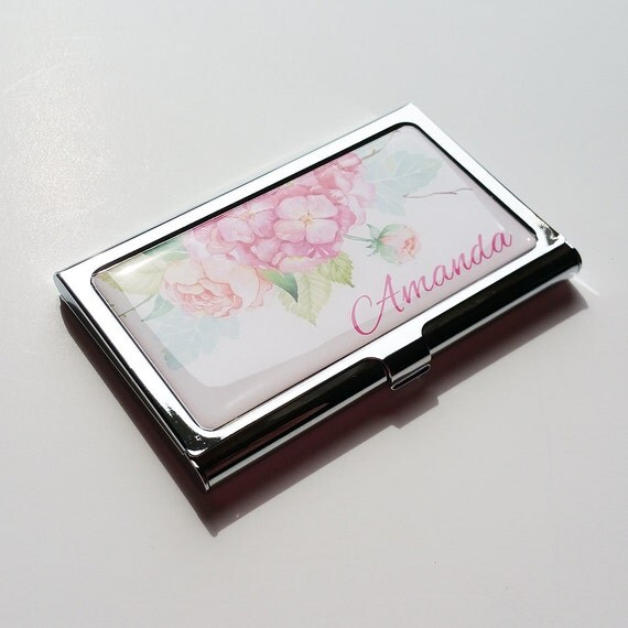 Personalized Business Card Holder Flower Business Card Case