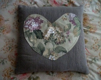 "Proxy Pillow for your Reiki practice. Flax Linen w. Floral Heart. 14""x14""  Filled w. dried Roses, Lavender, Buckwheat Hulls. USA made"
