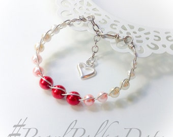 Heart Bracelet Ombre Graduated Czech Pearl Wire Wrapped Cuff