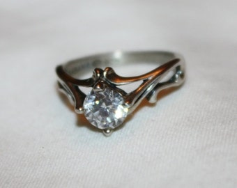Valentines Sales Vintage Art Deco Ring, Sterling Silver CZ Ring, Engagement Promise Ring, Boho Statement Ring,  1940s  Jewelry