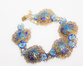 Vintage Sterling Bracelet, Chinese Enamel Bracelet, Filigree Bracelet,  1940s Jewelry Delicate