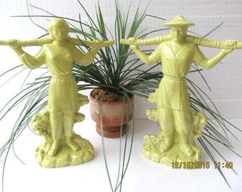 "14.5"" Large Mid Cenury Eames Era Asian Pottery Figurine Statues Marked  Gonder 1950"