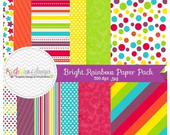 80% OFF - INSTANT DOWNLOAD, bright rainbow digital scrapbooking papers, rainbow printable papers, party paper, for commercial and personal u
