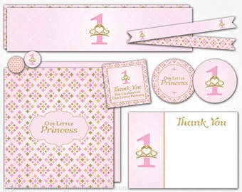 Princess Birthday Party Decorations - INSTANT DOWNLOAD Printable - Pink and Gold Princess First 1st Birthday for Girl Decor