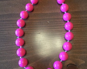 Girls Bubblegum Necklace-pink and silver