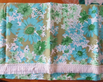Vintage Plastic Tablecloth 54 by 72 Truflex Fun-Sine Plastic Floral With Fringe