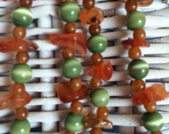 Brown stone and Green Tigers eye Beaded Necklace