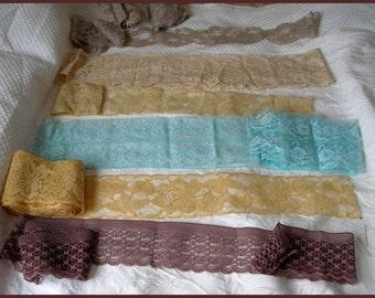 Vintage Lace Trim Lot Wide Lace 6 Different Colors
