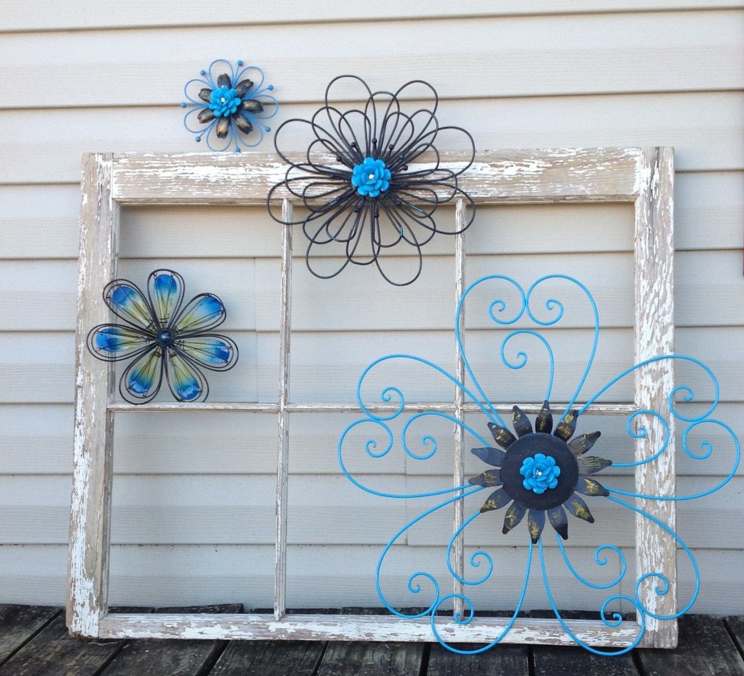black turquoise blue metal wall flowers metal wall art 4. Black Bedroom Furniture Sets. Home Design Ideas