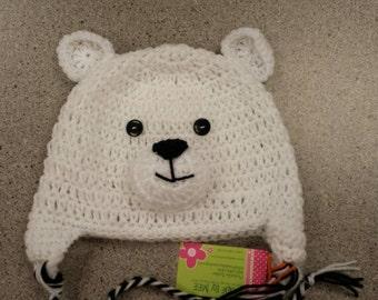 Polar Plunge Hat, Polar Bear Hat, Adult polar bear, Newborn polar bear,  crochet beanie with earflaps made to order
