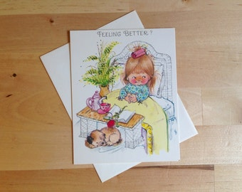 Vintage Get Well Soon Greeting Card - Feeling Better? - Thinking of You - Cute Kid and Puppy Design