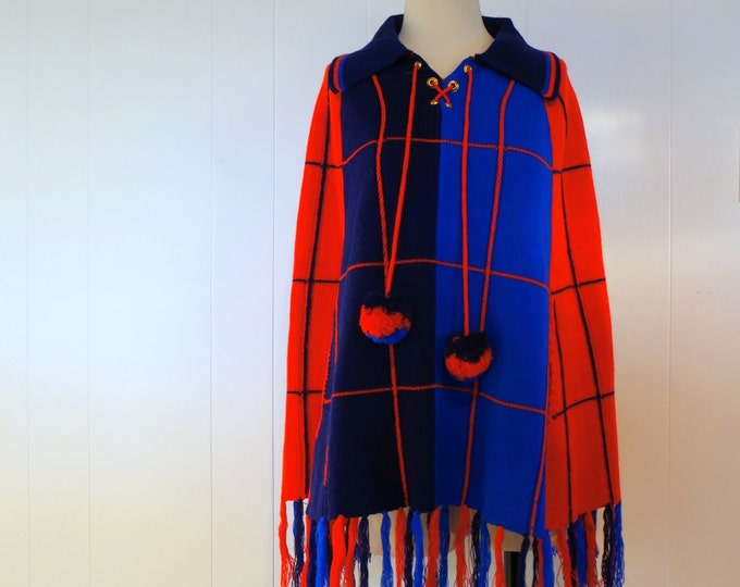 Poncho Sweater 1970s Vintage Red & Blue Fringe Pullover Sweater Poncho ONSA Knit Cape Lace Up Skating Wrap Winter Pom Poms Bohemian Hippie