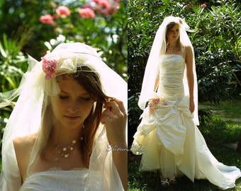 Romantic Fashionable Strapless Pure Silk Wedding Dress with Whimsical Train and Veil- Bianca- Made to Order