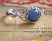 Blue Kyanite Ring, Argentium Silver Wire Wrapped Ring, Bridesmaid Jewelry, Blue Gemstone Ring