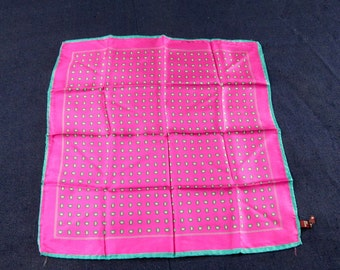 Vintage Ashear Silk Scarf Teal Fuschia Paisley Italian NOS