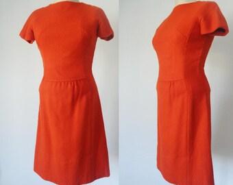 Vtg 60s Bright Pumpkin ORANGE Slim T-Shirt Dress, Small