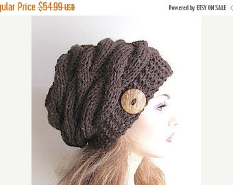 SALE Braided Cable Slouchy Beanie Slouch Hats Oversized Baggy cabled hat womens Fall Winter accessory Brown Heather  Hand Made Knit