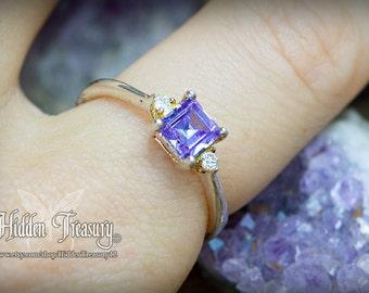 Purple Amethyst Ring sterling silver simple elegant sleek design with gemstone crystals