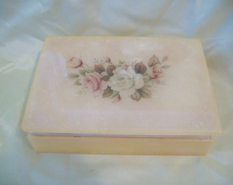 Vintage 1970s Trinket Box, Jewelry Box, Powder Box, Vanity Accessory Hand Carved Alabaster Italy Trinket Vanity Box