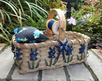 Texas Bluebonnet Pincushion/Mending/Sewing Basket Made in Texas Quilters Basket Seamstress Basket Texas Basket Handwoven Basket