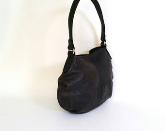 Black Leather Hobo Bag, Trendy Small Bag, Women Shoulder Handbag, Fashion Stylish Bags Aida