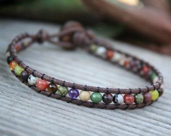 Beaded Wrap Bracelet, Vegan Wrap, Multi stone, Single Wrap Bracelet, Vegan Jewelry, Mixed Stone Bracelet, Metal Free Jewelry