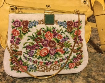Vintage  Needlepoint Needle Point Purse with Green Stone Clasp
