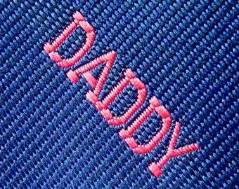 "Vintage Father's Day 1979 ""DADDY"" on Navy Blue Trad / Ivy League Emblematic Club Neck Tie."